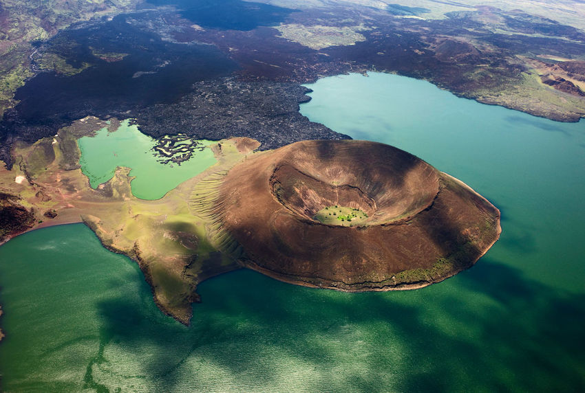 EyeEmNewHere , Tourist Destination Africa Afrika Lake Turkana Lake View Drone  Top View Volcano Riftvalley Volcano Island Hostile Environment In The Middle Of The Road Jade Beauty In Nature Travel Reisen Kenia Kenya Aerial View The Great Outdoors - 2017 EyeEm Awards