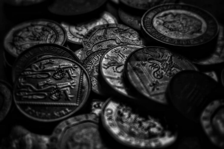 Money Malephotographerofthemonth Blackandwhite Photography Bnw monochrome photography Close-up Dark Picture Artistic Expression Coin Currency Finance Wealth Savings Close-up Money Financial Item Full Frame Backgrounds Detail