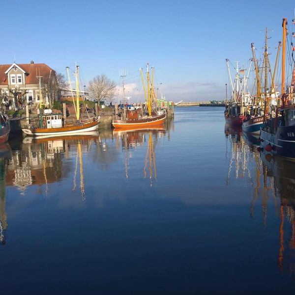 Nautical Vessel Reflection Water Harbor No People Neuharlingersiel