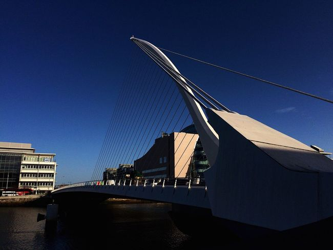 Dublin, Ireland Architecture Built Structure Bridge - Man Made Structure Connection River Outdoors Blue Building Exterior Day No People Sky Clear Sky Water City Dublin Samuelbeckettbridge