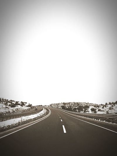 on the road Road Transportation The Way Forward Copy Space Highway Clear Sky Asphalt Outdoors Day No People Sky Nature