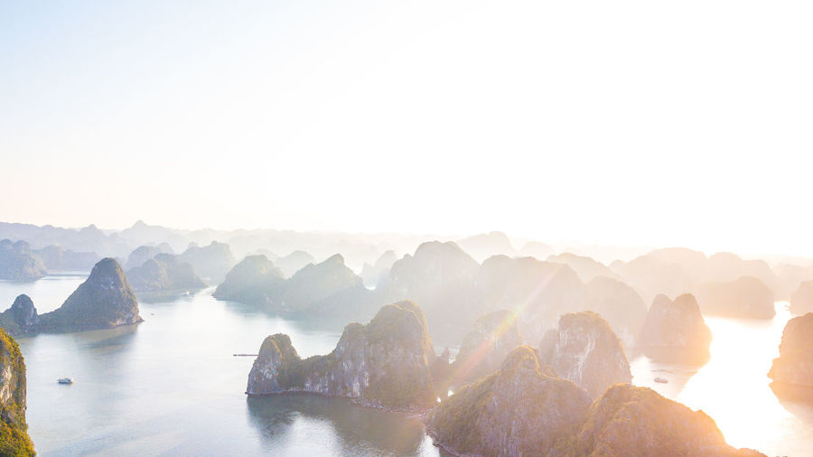 Panoramic view of rocks in mountains against sky