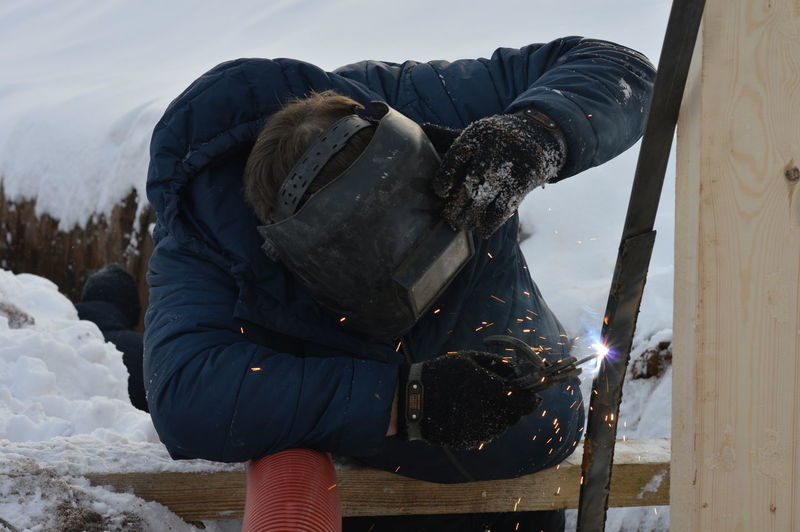 Man working in snow