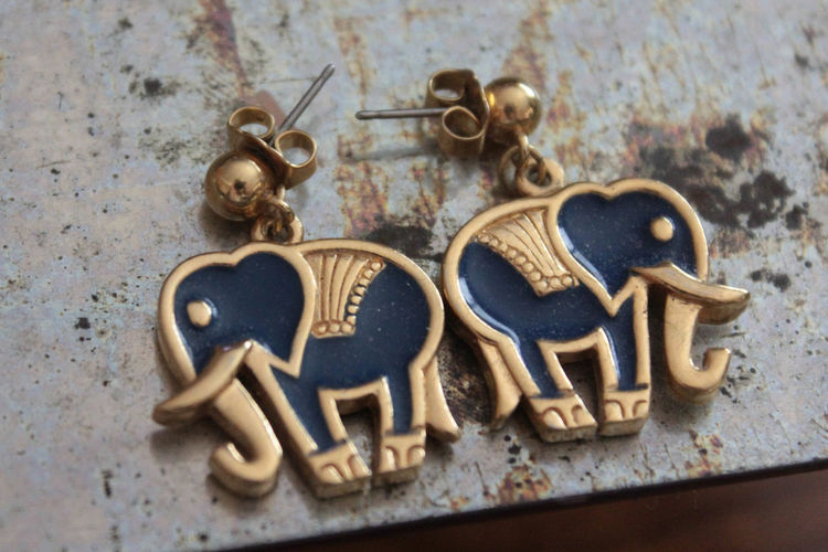 Bold Collection Earrings Elephant Elephant Earrings Elephants Fashion Fun Fashio Funky Funky Fashion High Angle View Jewelry Man Made Object No People Old Product Photography Still Life