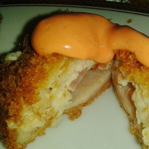 Meal before going to bed Chickencordonbleu
