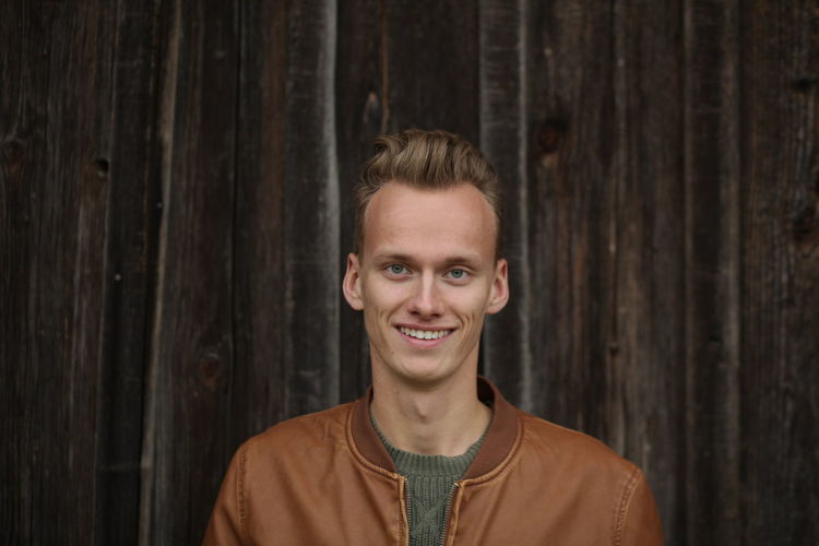 Adult Blond Hair Cheerful Close-up Day Front View Happiness Headshot Looking At Camera One Man Only One Person Outdoors People Portrait Smiling Wood - Material Young Adult