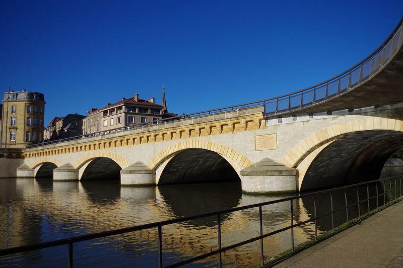 Bridge Bridge Over Water Metz Metz, France Sky Blue Sky Architecture