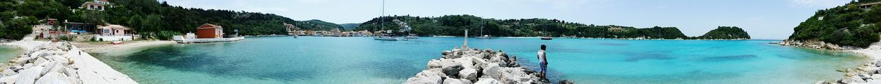 panorama view of Lakka village Sailing Boats Nautical Vessel Travel Destinations Holidays In Greece ❤ Summer Exploratorium Small Lighthouse Houses Village View Panoramic Photography Water Tree Swimming Sea Beach Palm Tree Relaxation Summer Tourist Resort Rock Formation Turquoise Colored Physical Geography Rock - Object Idyllic Island