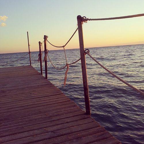 Sea Fence Wood Water Waves Sunset Sky Evening Turkey Konakli Vacation Holiday Sun Lightreflex Web Bridge Rope Instagood Instamood Instalike Instagramhub Instatags Instafamous Jj  Bestoftheday picoftheday photooftheday igers