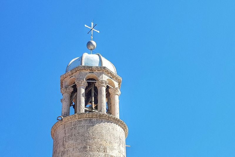 Clear Sky Blue Architecture Building Exterior History Sky Outdoors Travel Destinations Church Steeple Montenegro PERAST Our Lady Of The Rocks Vacations Church Architecture