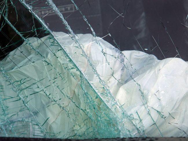 Airbag Broken Glass Crash Broken Windshield Car Crash Close-up Day Exploded Airbag No People