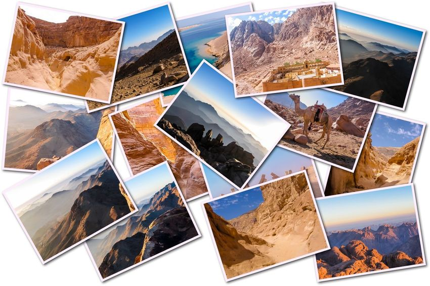 Egypt pictures collage of different famous locations landmark of Sinai Peninsula, Africa. Collage Collages Egypt Landmarks Ras Mohammed Sinai Peninsula Aerial View Allah Door Backgrounds Close-up Day Desert Beauty Egyptian Isolated White Background Landmak Location Mountain Nature No People Outdoors Photograph Photography Themes Sea Sinai Sinai Egypt Sky Travel Destinations White Background