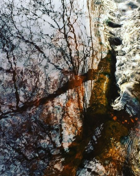 Pateley Bridge River Weir Water Trees Abstract Reflection Flowing Dark Flying High