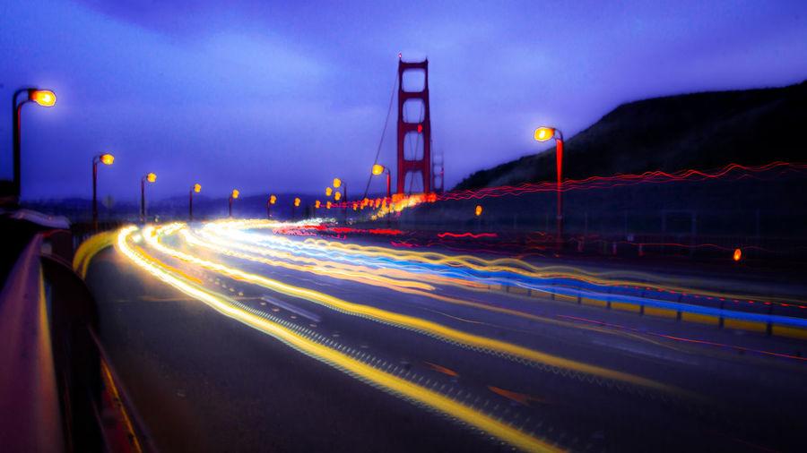 Light trails on golden gate bridge