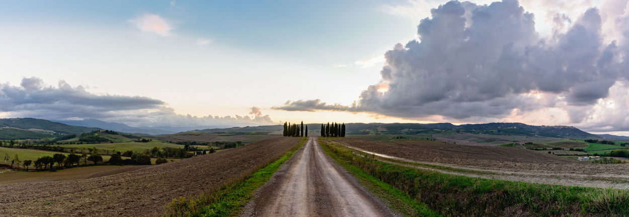 Panoramic view of Val D'orcia valley in autumn Beauty In Nature Cloud Cloud - Sky Countryside Day Diminishing Perspective Field Grass Green Color Landscape Long Mountain Narrow Nature Non-urban Scene Outdoors Remote Road Scenics Sky Solitude The Way Forward Tranquil Scene Tranquility Transportation