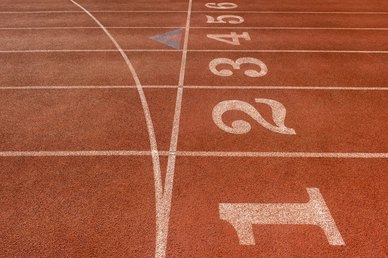 Close-up of starting line at running track