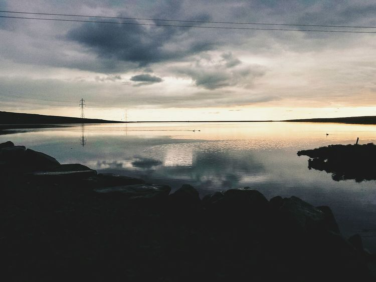 Top Of The World Rainy Day Fine Line Learn & Shoot: Leading Lines Sunset Twilight Sky Cloudporn Reflection Atmospheric Mood Cloudscape Still Water Reflections Clouds And Sky Calm Water The Great Outdoors - 2016 EyeEm Awards EyeEm Nature Lover Enjoying The Sights Landscape Nature Photography Nature's Diversities Reservoir Lake Water Beautiful Nature Landscape_Collection