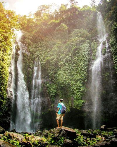 paradise Water Splashing Motion Spraying Waterfall One Person Outdoors