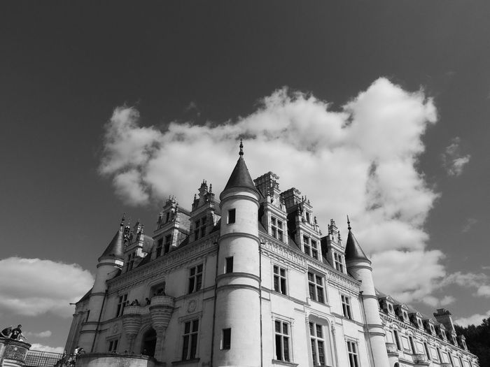 Chenonceau Chenonceaux Loire Loire Valley France Building Exterior Built Structure Architecture Sky Building Low Angle View Cloud - Sky Nature Day The Past No People History Travel Destinations City Outdoors Place Of Worship Belief Religion Spirituality Spire  Gothic Style