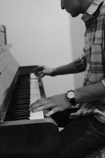 TakeoverMusic Music Piano Musical Instrument Pianist Two People Lifestyles Indoors  Human Hand Sitting Playing Practicing Piano Key Men Adults Only Musician Adult Arts Culture And Entertainment Skill  Keyboard Instrument Living Room Piano Moments