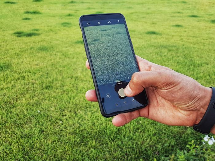 Cropped hand holding a phone and trying to take a photo of grass Photography Photo Camera Grass Slart Phone Photograph Shooting Human Hand Technology Wireless Technology Touch Screen Telephone Portability Device Screen Mobile Phone Cellphone Digital Viewfinder