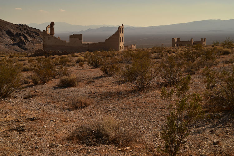 Former town of rhyolite in nevada now a deteriorating ghost town