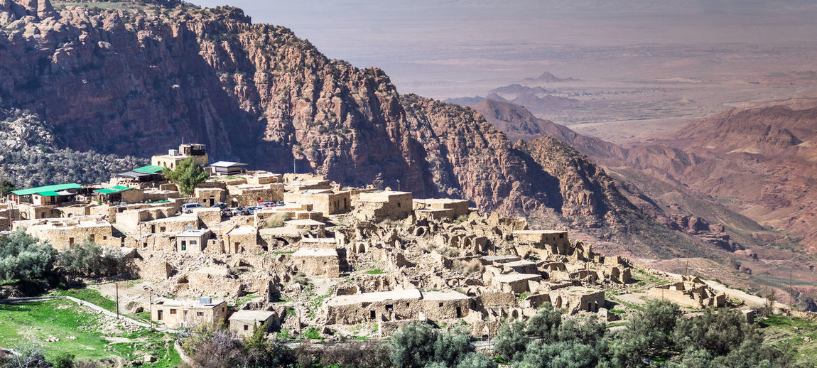 Overview of the dana village on the edge of the dana nature reserve in jordan