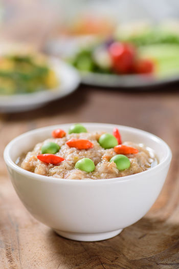 Thai food, Shrimp Paste Chili Dip Cuisine Spicy Asian Food Bowl Chili  Close-up Day Focus On Foreground Food Food And Drink Freshness Garnish Gourmet Healthy Eating Healthy Food Hummus Indoors  No People Ready-to-eat Serving Size Shrimp Paste Still Life Table Thai Food Vegetable