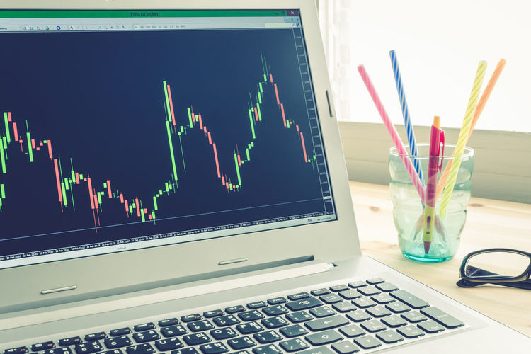 Stock or Forex Graph in Laptop Screen on Left View on Blue Vintage Style Candlestick Currency Stock Graph Business Candlestick Chart Communication Computer Computer Equipment Computer Monitor Computer Network Connection Currency Symbol Desk Organizer Forex Forextrading Graph Internet Investment Concept Laptop No People Still Life Stock Technology Wireless Technology