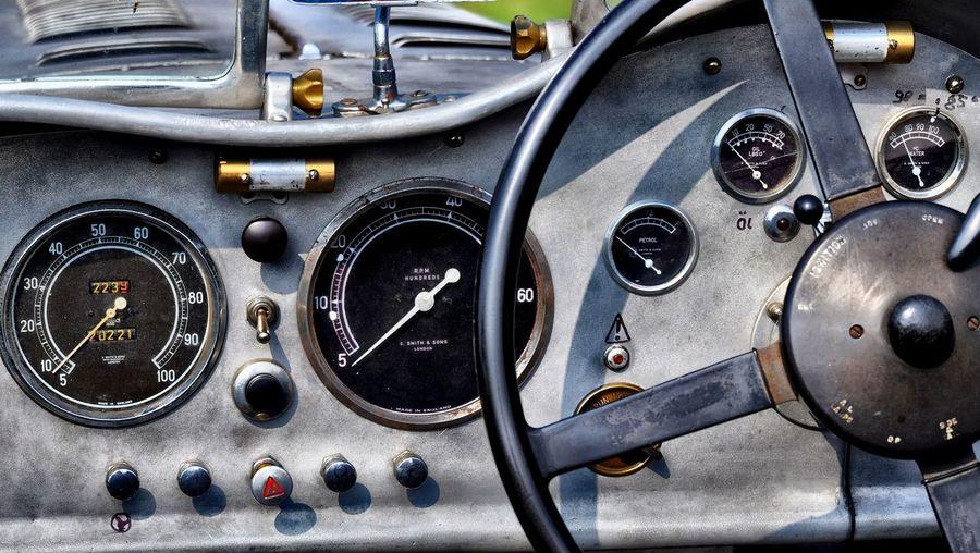Close-Up Of Vintage Car Dashboard