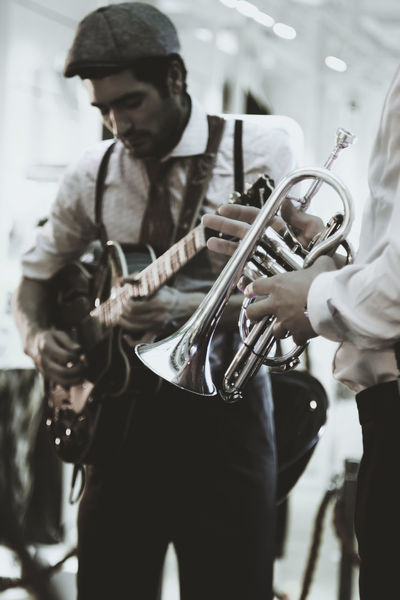 Jazzabell! Only Men Music Arts Culture And Entertainment Musical Instrument Young Men Playing Jazz Musician Jazz Music Jazz Trumpet Trompet Istanbul City Turkey Musicians Performing Arts Event Guitarist Guitar Standing People Indoors  The Street Photographer - 2017 EyeEm Awards Skill  Music Place Of Heart