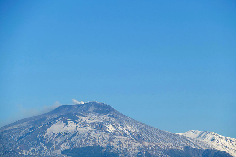 Low angle view of mount etna