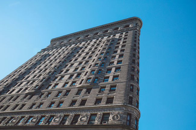 Architecture Architecture Blue Sky Building Exterior Built Structure City Clear Sky Cold Day Flatiron Building Low Angle View Manhattan New York New York City No People Outdoors Sky Skyscraper Tower Urban Skyline Winter