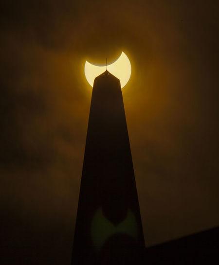 Solar Eclipse on Transamerica building Sky Eclipse Solar Eclipse Silhouette Sunlight TransAmericaBuilding Trans America Building  Triangle Shape Orange Color Sunset Sun Illuminated Partial Solar Eclipse Amazing Architecture Nature No People Light - Natural Phenomenon
