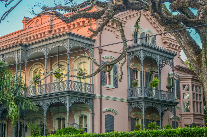 Garden District, New Orleans Palm Tree Pink House Arch Architectural Column Architecture Balcony Building Exterior Built Structure Day Façade Forged Iron Forged Metal Forged Steel Garden District No People Outdoors Potted Plant Sky Sunset Travel Destinations