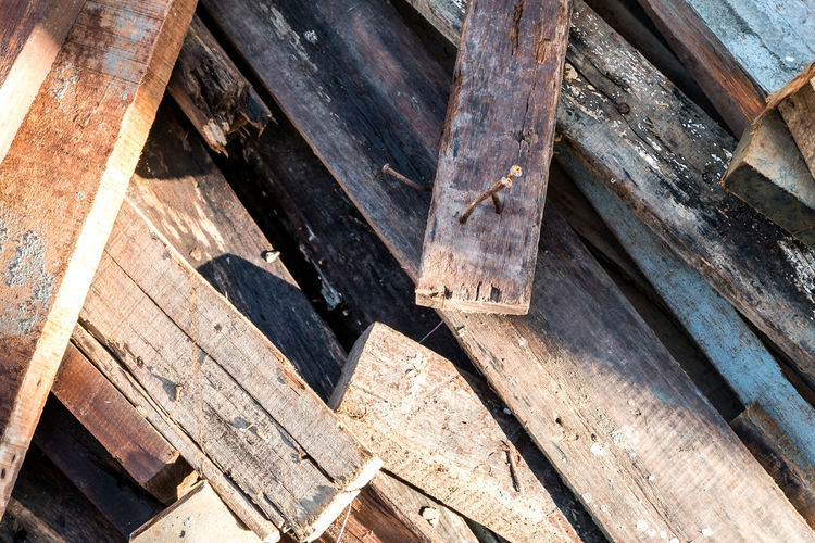 High angle view of old wooden planks