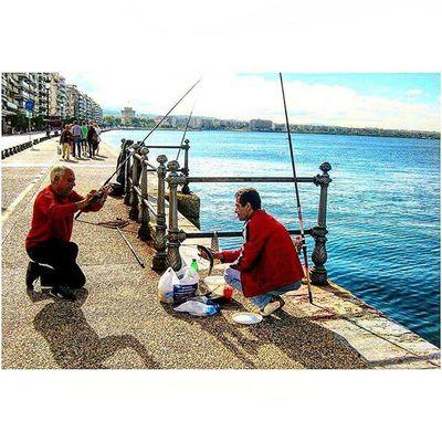Fisherman with his Catch Thessaloniki Θεσσαλονίκη Solun Salonika Greece VisitGreece Instagreece Greecestagram White City Whitecity Fishermans Fishing
