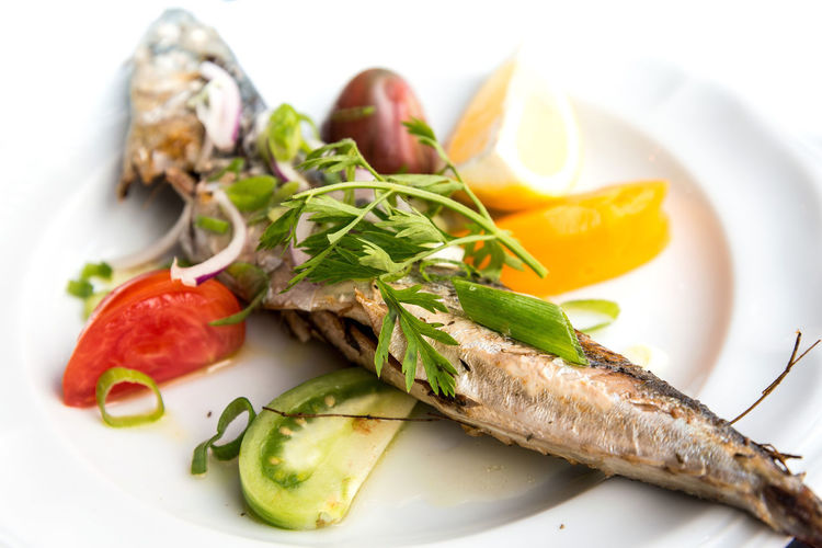 Grilled mackerel served with fresh salad