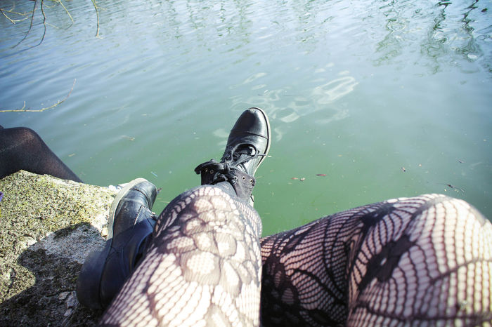 Beauty In Nature Boots Close-up Day Elevated View Exploring Femininity Hiking Lake Lakeshore Legs Legs_only Leisure Activity Lifestyles Nature Outdoors Personal Perspective Rippled Stockings Tights Tranquility Unrecognizable Person Water Tailored To You Showcase June TK Maxx Socksie