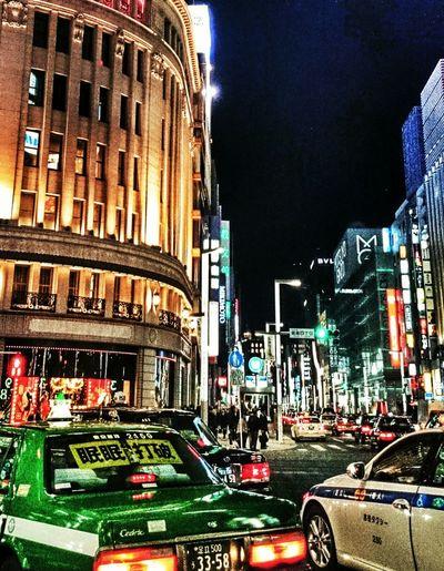Tokyo Night Ginza Neon Lights Streetphotography