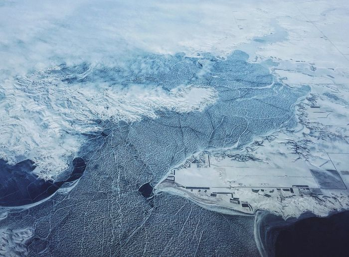 Winter Cold Temperature Snow Weather Beauty In Nature Nature High Angle View Day Scenics Frozen Tranquility No People Tranquil Scene Outdoors Mountain Sky Close-up View From An Airplane Missouri River