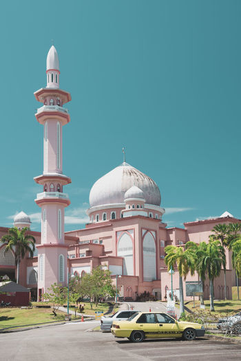 Pink and Blue Colors Exploring Sunny Taking Photos Tranquility Travel Architecture Blue Building Exterior Built Structure Car Clear Sky Day Dome Enjoying Life Light And Shadow Mosque No People Outdoors Place Of Worship Religion Sky Spirituality Travel Destinations Tropical
