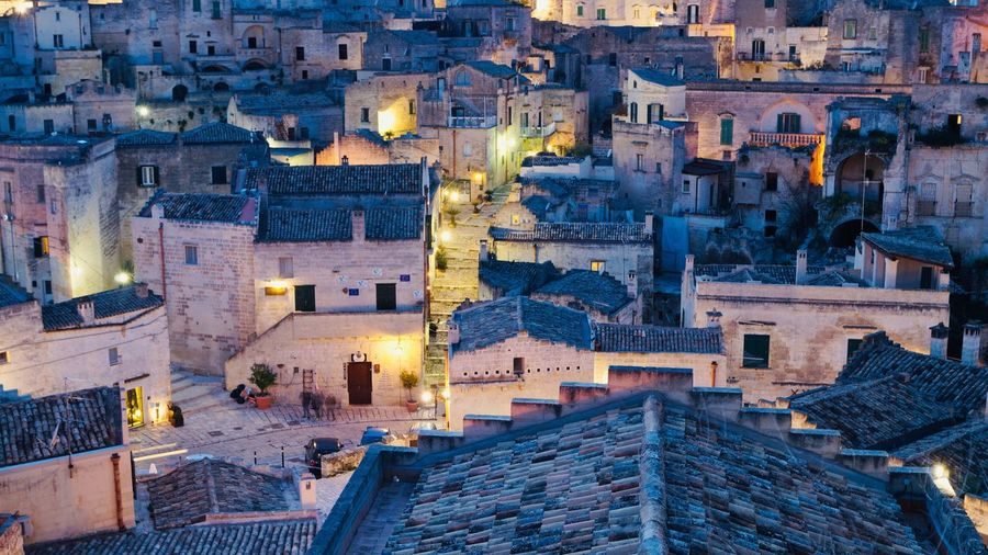 Matera Italy Architecture Building Exterior City Built Structure Building High Angle View Illuminated Residential District Roof Town Street Travel Destinations Dusk No People Nature Night House Cityscape Outdoors TOWNSCAPE