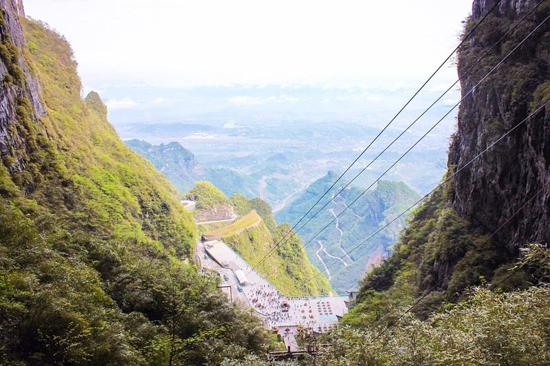 Cables over mountain at zhangjiajie national forest park