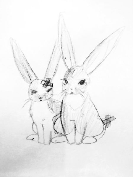 Sketch Portrait No People Painted Image Animal Themes Sketching Sketch Art Drawing Art And Craft Bunnies Sick Bunnies Sickness Sick Veterinary Vet  Bunnie Anime Drawing Rabbit Monochrome Blackandwhite Black And White Paper Cute KAWAII