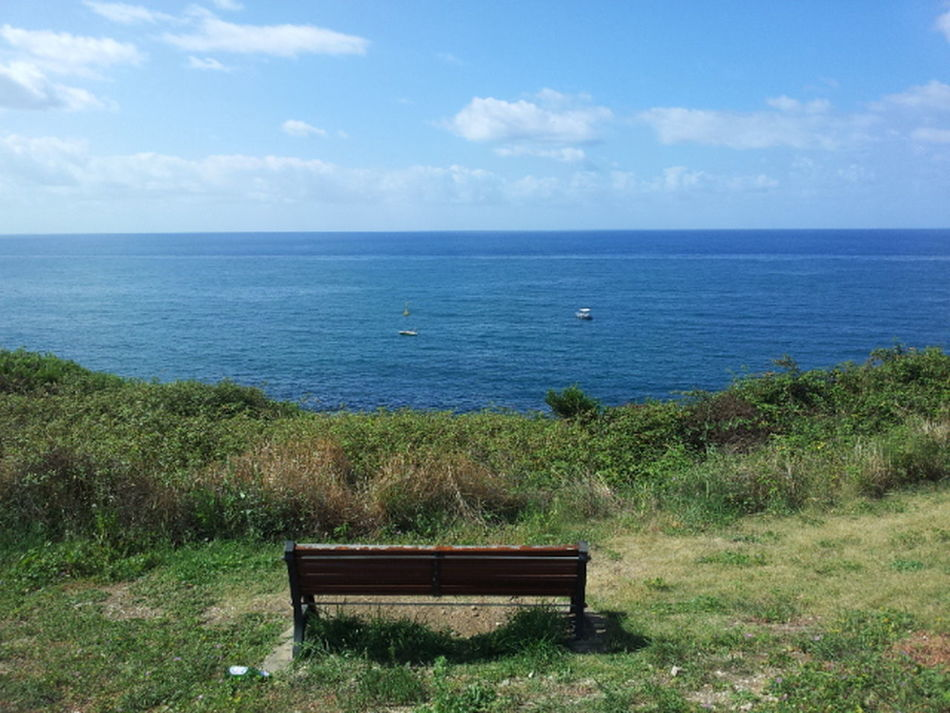 Landscape Nature Relaxing Exploring Green Formia Bench Sea Blue Sky Sky Clouds Grass Brushwood Plants Solitude Privacy Boats The Tourist Trip Journey Finding New Frontiers