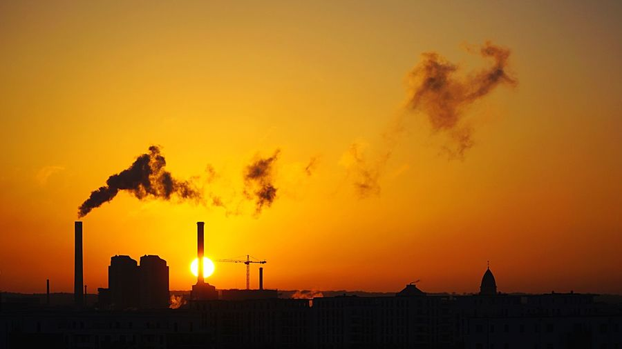 Sun set Sunset Factory Smoke Stack Built Structure Environmental Issues Building Exterior Smoke - Physical Structure Emitting Architecture Fuel And Power Generation Industry No People Social Issues Outdoors Air Pollution Sky Chimney Industrial Building  Nature The City Light The City Light