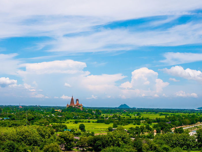 Thai view Cloud - Sky Sky Built Structure Plant Architecture Building Exterior Nature Place Of Worship Landscape Tree Building Environment Religion Day Scenics - Nature Beauty In Nature Green Color Belief No People Outdoors Ancient Civilization Archaeology Spire