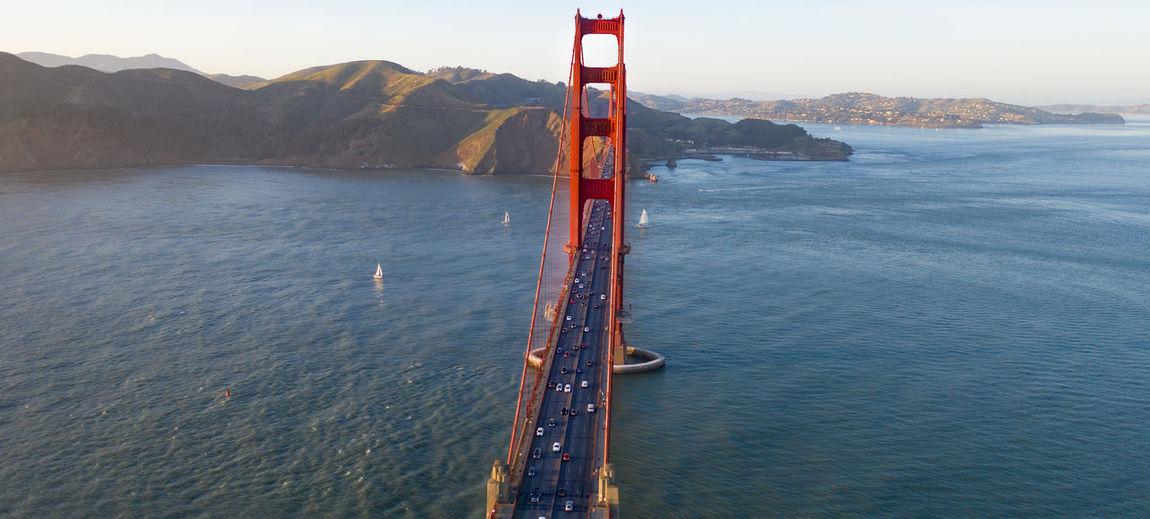 Aerial view of golden gate bridge over sea