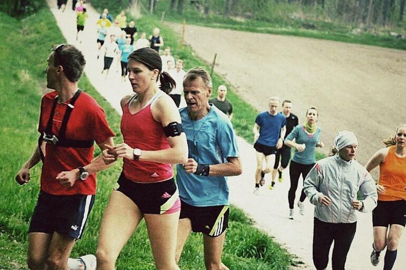 My friends running in Helsinki